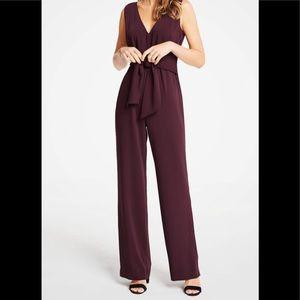 Ann Taylor Petite Tie Front Maroon Jumpsuit 8P